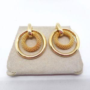 Jewelry - NOS Gold Mesh Double Hoop Earrings